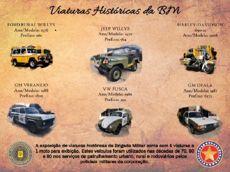 Veículos históricos da Brigada Militar são expostos em Porto Alegre