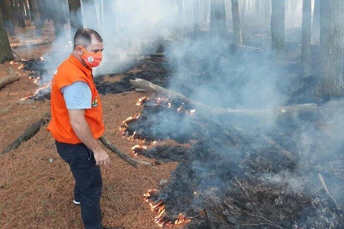 Equipes combatem pontos de incêndio no horto florestal da Cohab/Santa Rita em Guaíba